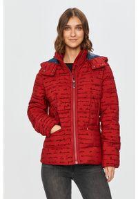 Czerwona kurtka Desigual na co dzień, z kapturem