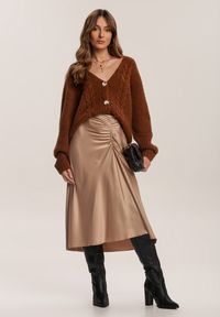 Renee - Beżowa Spódnica Dracoth. Kolor: beżowy. Materiał: tkanina, guma. Wzór: gładki. Styl: klasyczny