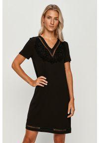 Czarna sukienka Desigual z aplikacjami, mini, na co dzień, prosta