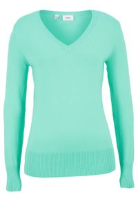 Zielony sweter bonprix w prążki, na co dzień, z dekoltem w serek, casualowy