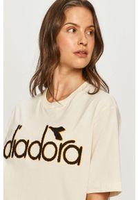 Kremowa bluzka Diadora z aplikacjami, casualowa