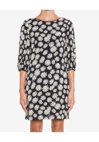 Czarna sukienka mini MOSCHINO elegancka, w kwiaty