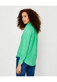 Ralph Lauren - RALPH LAUREN - Zielona koszula z lnu Relaxed Fit. Typ kołnierza: polo. Kolor: zielony. Materiał: len. Długość rękawa: długi rękaw. Długość: długie. Wzór: haft, aplikacja