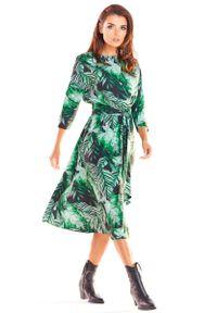 Zielona sukienka wizytowa Awama w kwiaty, midi