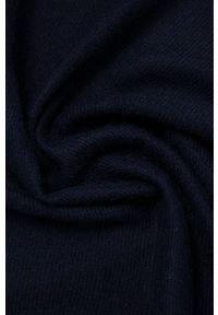 United Colors of Benetton - Szal z domieszką wełny. Kolor: niebieski. Materiał: wełna