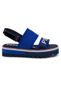 Niebieskie sandały Pepe Jeans na co dzień, casualowe