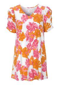 Różowa tunika Cellbes elegancka, w kwiaty, krótka, z krótkim rękawem
