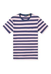 Ralph Lauren - RALPH LAUREN - Koszulka w różowe pasy Custom Fit. Typ kołnierza: polo. Kolor: niebieski. Materiał: tkanina, bawełna. Wzór: haft