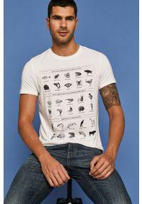 Biały t-shirt medicine z okrągłym kołnierzem, z nadrukiem
