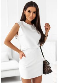 IVON - Komplet Dresowy Bluzka + Mini Spódniczka - Kremowy. Kolor: kremowy. Materiał: dresówka