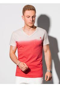 Ombre Clothing - T-shirt męski bawełniany S1380 - czerwony - XXL. Kolor: czerwony. Materiał: bawełna