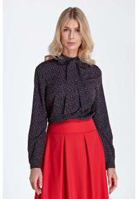 Czarna bluzka z długim rękawem Nife elegancka, z kokardą