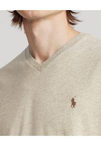 Beżowy t-shirt Ralph Lauren z dekoltem w serek, melanż