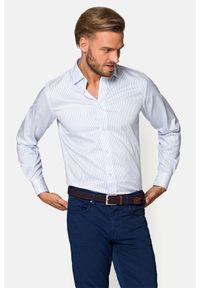 Lancerto - Koszula Biała w Błękitny Prążek Raven. Kolor: niebieski, biały, wielokolorowy. Materiał: bawełna, tkanina, jeans. Wzór: prążki