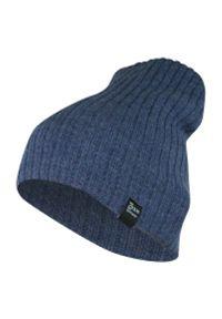 Niebieska czapka sportowa, w prążki, na zimę