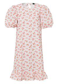 Sukienka z koronką bonprix biel wełny - pomarańczowy w kwiaty. Kolor: biały. Materiał: koronka, wełna. Długość rękawa: na ramiączkach. Wzór: kwiaty, koronka. Styl: elegancki