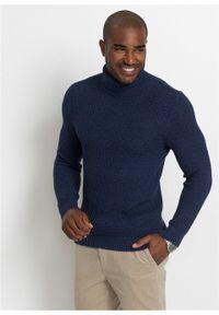 Niebieski sweter bonprix z golfem, melanż