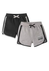 Czarne spodnie bonprix krótkie, sportowe, melanż