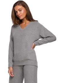 MOE - Dzianinowy Sweterek z Dekoltem V - Szary. Kolor: szary. Materiał: dzianina