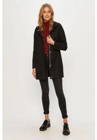 Czarny płaszcz only na co dzień, z kapturem