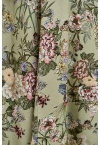 Marie Zélie - Sukienka Colette Phoenix zielona. Kolor: zielony. Materiał: wiskoza, skóra, materiał. Długość rękawa: długi rękaw. Wzór: gładki. Typ sukienki: szmizjerki. Styl: elegancki. Długość: maxi