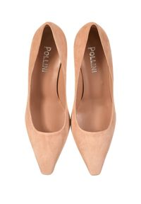 Pollini - POLLINI - Beżowe buty na obcasie. Kolor: beżowy. Materiał: zamsz. Obcas: na obcasie. Wysokość obcasa: średni