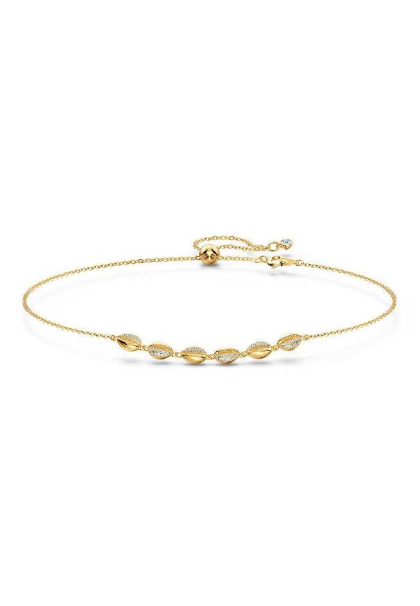 Złoty naszyjnik Swarovski z kryształem, metalowy