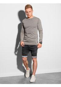 Ombre Clothing - Longsleeve męski bez nadruku L131 - jasnobrązowy - XXL. Kolor: brązowy. Materiał: bawełna. Długość rękawa: długi rękaw #4