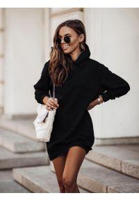 IVON - Czarna Sukienka Sportowa z Kapturem. Typ kołnierza: kaptur. Kolor: czarny. Materiał: bawełna, elastan. Typ sukienki: sportowe. Styl: sportowy