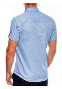 Niebieska koszula Ombre Clothing button down, z krótkim rękawem, krótka