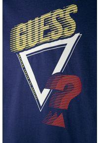 Fioletowa koszulka z długim rękawem Guess Jeans z nadrukiem, na co dzień, casualowa