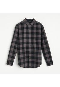 Reserved - Bawełniana koszula w kratę - Szary. Kolor: szary. Materiał: bawełna #1