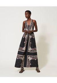 TwinSet - Sukienka MAXI z popeliny w print paisley Twinset. Kolor: czarny. Materiał: bawełna. Wzór: nadruk, paisley. Styl: klasyczny. Długość: maxi