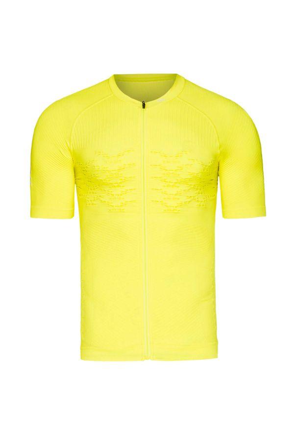 Żółta koszulka termoaktywna X-Bionic z asymetrycznym kołnierzem, z krótkim rękawem