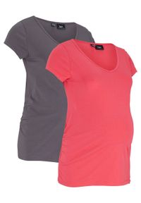 Shirt ciążowy basic (2 szt.) bonprix różowy hibiskus + szary łupkowy. Typ kołnierza: dekolt w serek. Kolekcja: moda ciążowa. Kolor: różowy