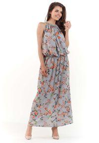 Szara sukienka na imprezę Lou-Lou w kwiaty, maxi, na lato