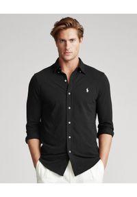 Ralph Lauren - RALPH LAUREN - Czarna koszula Mesh Custom Fit. Typ kołnierza: polo. Kolor: czarny. Materiał: mesh. Długość rękawa: długi rękaw. Długość: długie. Wzór: haft. Styl: wakacyjny, klasyczny