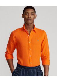 Ralph Lauren - RALPH LAUREN - Pomarańczowa koszula z lnu Slim Fit. Typ kołnierza: button down, polo. Kolor: pomarańczowy. Materiał: len. Długość rękawa: długi rękaw. Długość: długie. Wzór: haft
