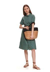 TOP SECRET - Tkaninowa koszulowa sukienka. Kolor: zielony. Materiał: tkanina. Długość rękawa: krótki rękaw. Sezon: lato. Typ sukienki: koszulowe. Styl: klasyczny
