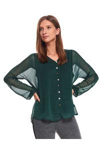 Zielona bluzka TOP SECRET z dekoltem w serek, długa, z długim rękawem