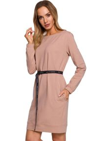 Beżowa sukienka MOE casualowa, oversize, mini