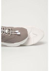 Szare sneakersy Steve Madden na sznurówki, na średnim obcasie, z cholewką, na obcasie