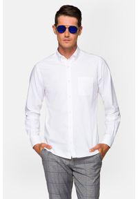 Lancerto - Koszula Biała Rachel 2. Typ kołnierza: button down. Kolor: biały. Materiał: bawełna, tkanina, jeans. Długość rękawa: bez rękawów. Wzór: ze splotem. Styl: sportowy