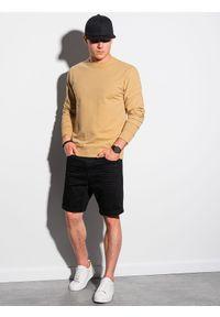 Ombre Clothing - Bluza męska bez kaptura B1153 - żółta - XXL. Typ kołnierza: bez kaptura. Kolor: żółty. Materiał: poliester, bawełna