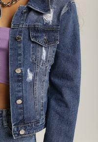 Renee - Niebieska Kurtka Jeansowa Nadarene. Kolor: niebieski. Materiał: jeans. Długość rękawa: długi rękaw. Długość: długie. Wzór: gładki, aplikacja