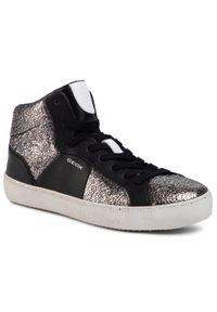 Geox - Sneakersy GEOX - D Warley B D92FBB 0KYBC C0474 Czarny Srebrny. Okazja: na co dzień. Kolor: srebrny, czarny, wielokolorowy. Materiał: skóra, materiał. Szerokość cholewki: normalna. Sezon: lato. Styl: casual