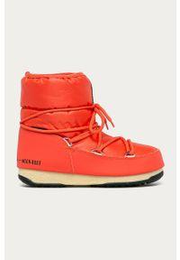Pomarańczowe śniegowce Moon Boot na obcasie, na sznurówki