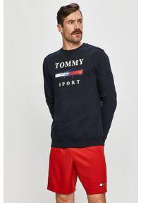 Niebieska bluza nierozpinana Tommy Sport bez kaptura, na co dzień