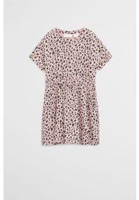 Różowa sukienka Mango Kids z krótkim rękawem, mini, rozkloszowana