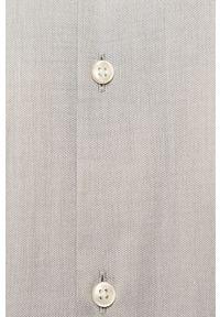 Szara koszula Hugo elegancka, długa, z włoskim kołnierzykiem